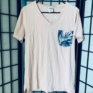 Pink by VS campus v neck pocket tee sz S